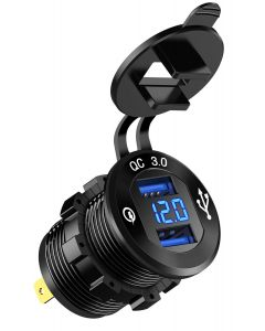 XQC302 | Dual USB Quick Charge QC 3.0 Car Charger w/Voltmeter